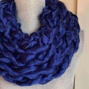 Blue Handmade Arm Knit Infinity Scarf